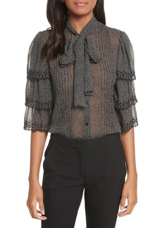 Rebecca Taylor Tie Neck Tiered Sleeve Silk Blouse