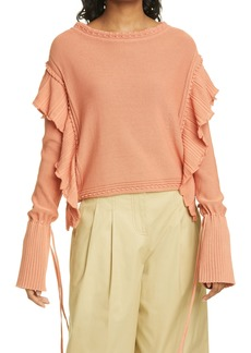 Rebecca Taylor Tie Sleeve Cotton Sweater