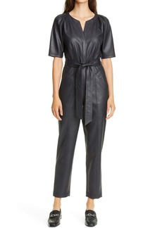 Rebecca Taylor Tie Waist Faux Leather Jumpsuit