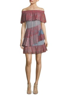 Rebecca Taylor Tiered Off-The-Shoulder Dress