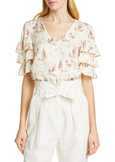 Rebecca Taylor Tiered Ruffle Sleeve Silk Blend Blouse