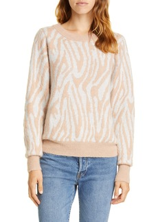 Rebecca Taylor Tiger Stripe Merino Wool Blend Sweater