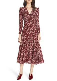 Rebecca Taylor Tilda Floral Midi Silk Dress