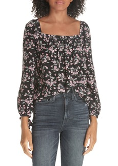 Rebecca Taylor Tilda Floral Tie Sleeve Silk Blouse