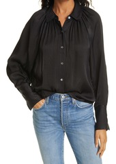 Rebecca Taylor Tonal Stripe Long Sleeve Blouse