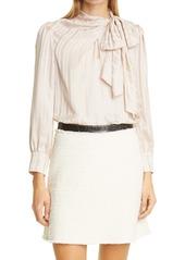 Rebecca Taylor Tonal Stripe Tie Neck Silk Blouse