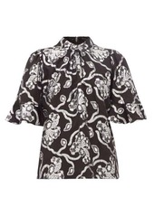 Rebecca Taylor Trumpet-sleeve floral brocade silk-blend blouse