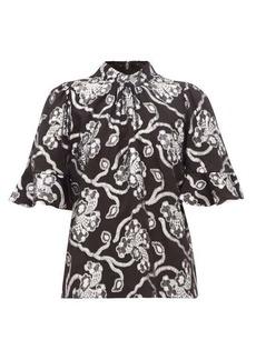 Rebecca Taylor Trumpet-sleeve floral brocade silk-blend blouse