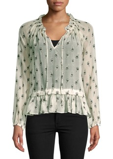 Rebecca Taylor Tulip Clip Long-Sleeve Top