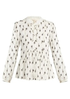 Rebecca Taylor Tulip-print silk-blend blouse