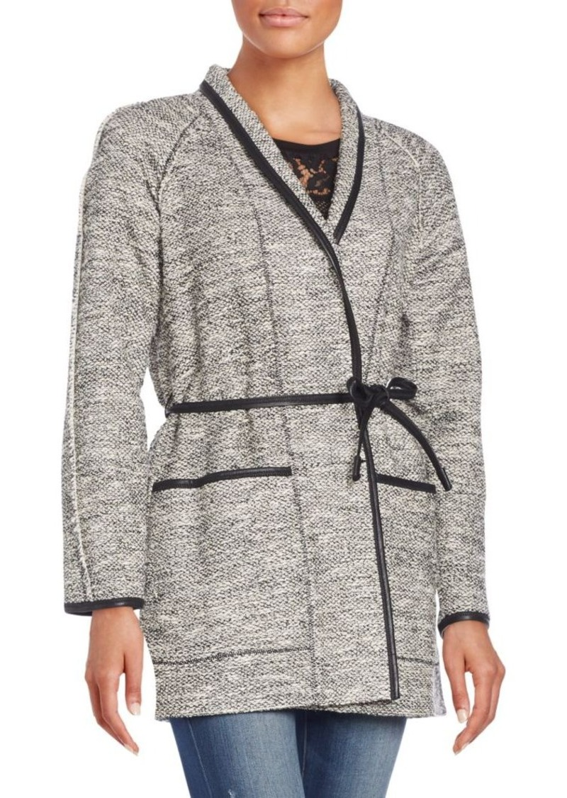 Rebecca Taylor Faux Leather-Trim Tweed Coat