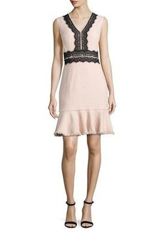 Rebecca Taylor Tweed Contrast-Lace Sleeveless Dress