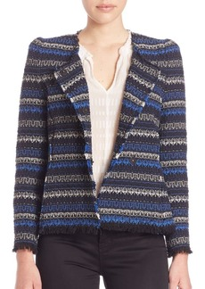 Rebecca Taylor Tweed Fringe-Hem Jacket