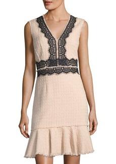 Rebecca Taylor Tweed Lace-Trim V-Neck Dress