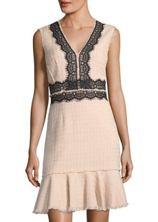 Rebecca Taylor Tweed Lace-Trim V-Neck Dress