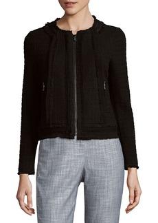 Rebecca Taylor Tweed Leather & Silk-Trim Wool-Blend Jacket