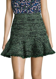 Rebecca Taylor Tweed Ruffle Hem Skirt