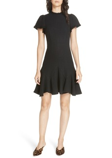 Rebecca Taylor Tweed Short Sleeve Mini Dress