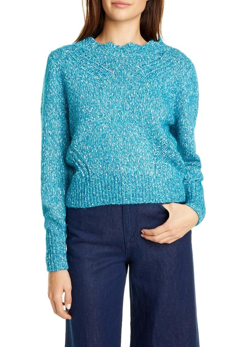 Rebecca Taylor Tweedy Yarn Cotton & Alpaca Blend Sweater