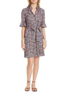 Rebecca Taylor Twilight Ditsy Floral Silk Blend Shirtdress