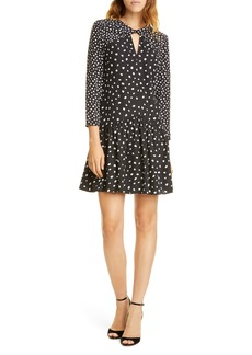 Rebecca Taylor Twist Detail Long Sleeve Silk Blend Dress