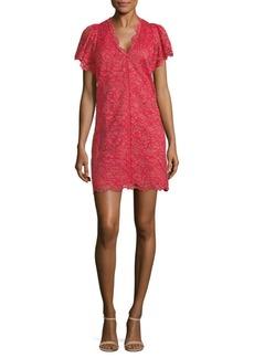 Rebecca Taylor V-Neck Lace Mini Dress