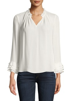 Rebecca Taylor V-Neck Long-Sleeve Silk Georgette Blouse w/ Ruffled Trim