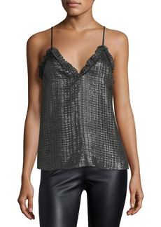 Rebecca Taylor V-Neck Metallic Camisole Top