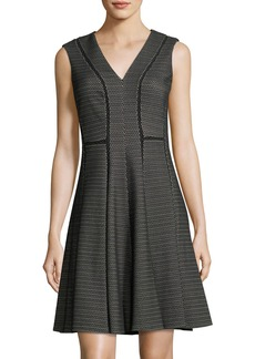 Rebecca Taylor V-Neck Sleeveless Fit-and-Flare Dress