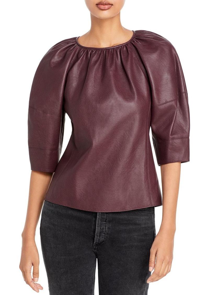 Rebecca Taylor Vegan Leather Blouse
