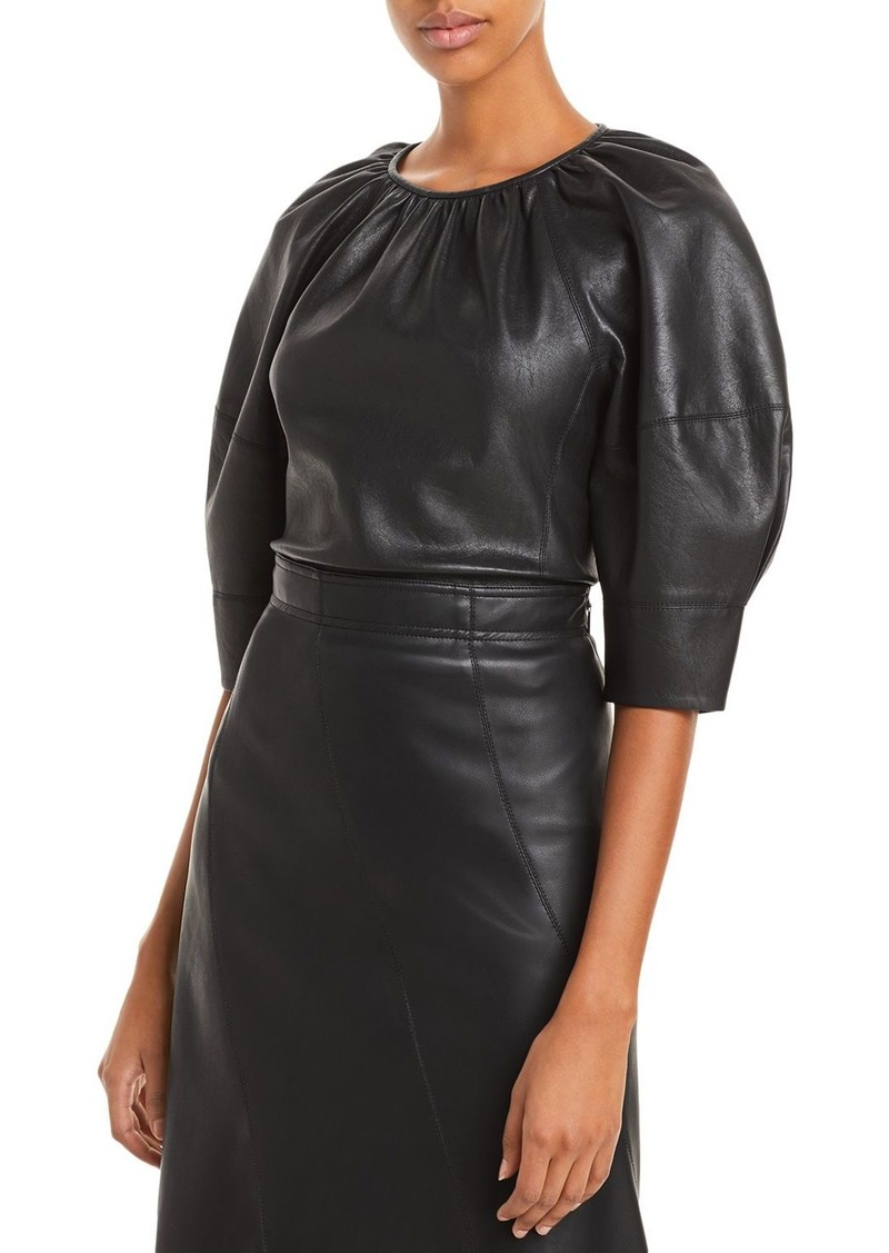 Rebecca Taylor Vegan Leather Blouse