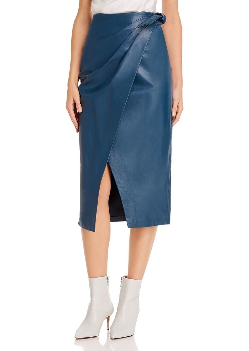 Rebecca Taylor Vegan Leather Midi Skirt