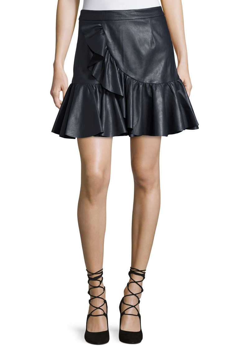 best choice suitable for men/women new high Vegan Leather Ruffle Mini Skirt