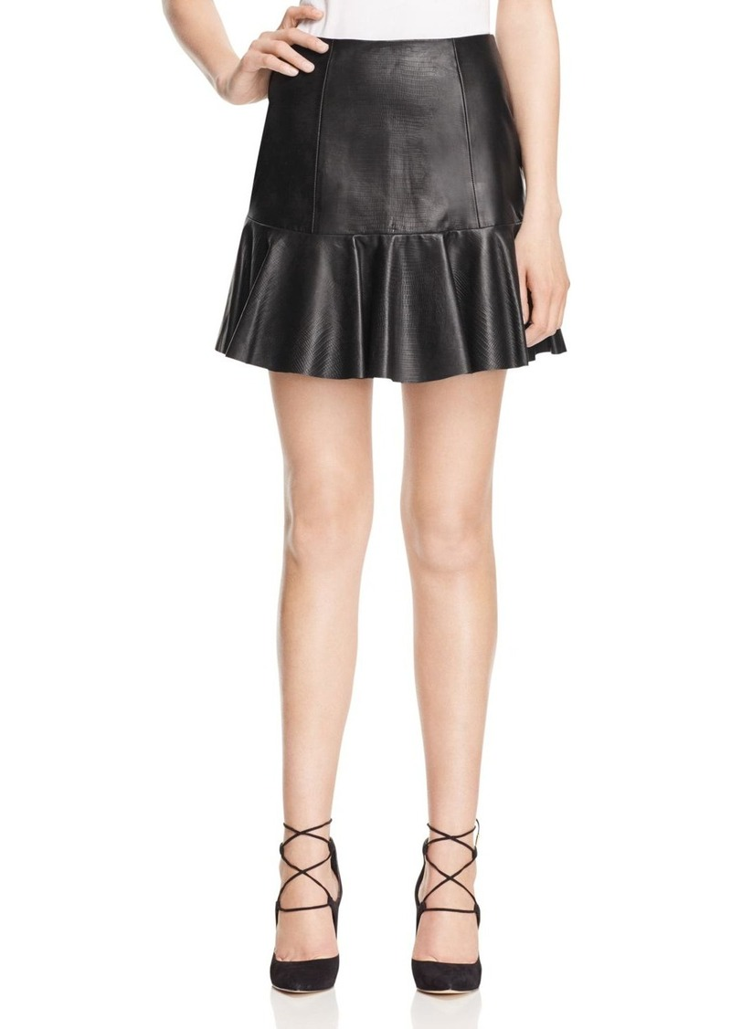 Rebecca Taylor Vegan Leather Ruffle Skirt - 100% Exclusive