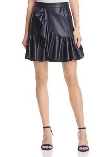 Rebecca Taylor Vegan Leather Ruffle Skirt