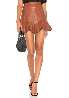 Rebecca Taylor Vegan Leather Skirt in Brown. - size 4 (also in 6,8)