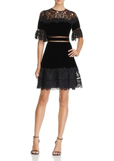 Rebecca Taylor Velvet & Lace Fit-and-Flare Dress