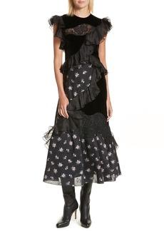 Rebecca Taylor Velvet Floral Jacquard Midi Dress