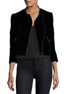 Rebecca Taylor Velvet Zip-Front Motorcycle Jacket