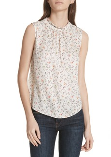 Rebecca Taylor Vine Band Collar Silk Top