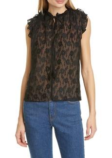 Rebecca Taylor Vine Embroidery Sleeveless Cotton & Silk Top