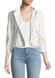 Rebecca Taylor Vine Floral-Print Leather Moto Jacket