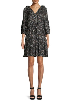 Rebecca Taylor Vine-Print Long-Sleeve Silk Shirtdress
