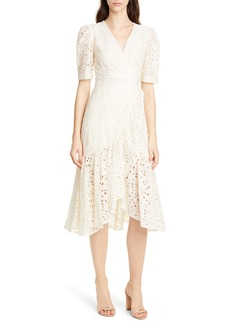 Rebecca Taylor White Clover Embroidery Cotton & Silk Midi Dress