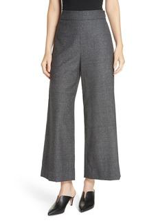 Rebecca Taylor Wide Leg Crop Wool & Silk Blend Trousers