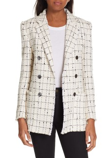 Rebecca Taylor Windowpane Plaid Tweed Double-Breasted Blazer