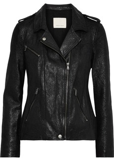 Rebecca Taylor Woman Coated Suede Biker Jacket Black