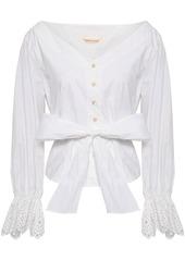 Rebecca Taylor Woman Bow-detailed Cotton-poplin Shirt White