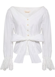 Rebecca Taylor Woman Bow-detailed Cotton-poplin Shirt White