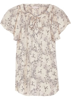 Rebecca Taylor Woman Bow-detailed Floral-print Silk-satin Jacquard Blouse Pastel Pink